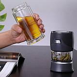 Заварник термокружка для чая  Колба для чая с кнопкой  Заварник бутылка стеклянная для чая 400 мл, фото 2