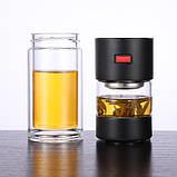 Заварник термокружка для чая  Колба для чая с кнопкой  Заварник бутылка стеклянная для чая 400 мл, фото 5