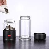 Заварник термокружка для чая  Колба для чая с кнопкой  Заварник бутылка стеклянная для чая 400 мл, фото 6
