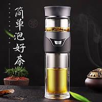 Заварник термокружка для чая Колба для чая с кнопкой Заварник бутылка стеклянная для чая 400 мл