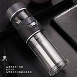 Заварник термокружка для чая  Колба для чая с кнопкой  Заварник бутылка стеклянная для чая 400 мл, фото 9