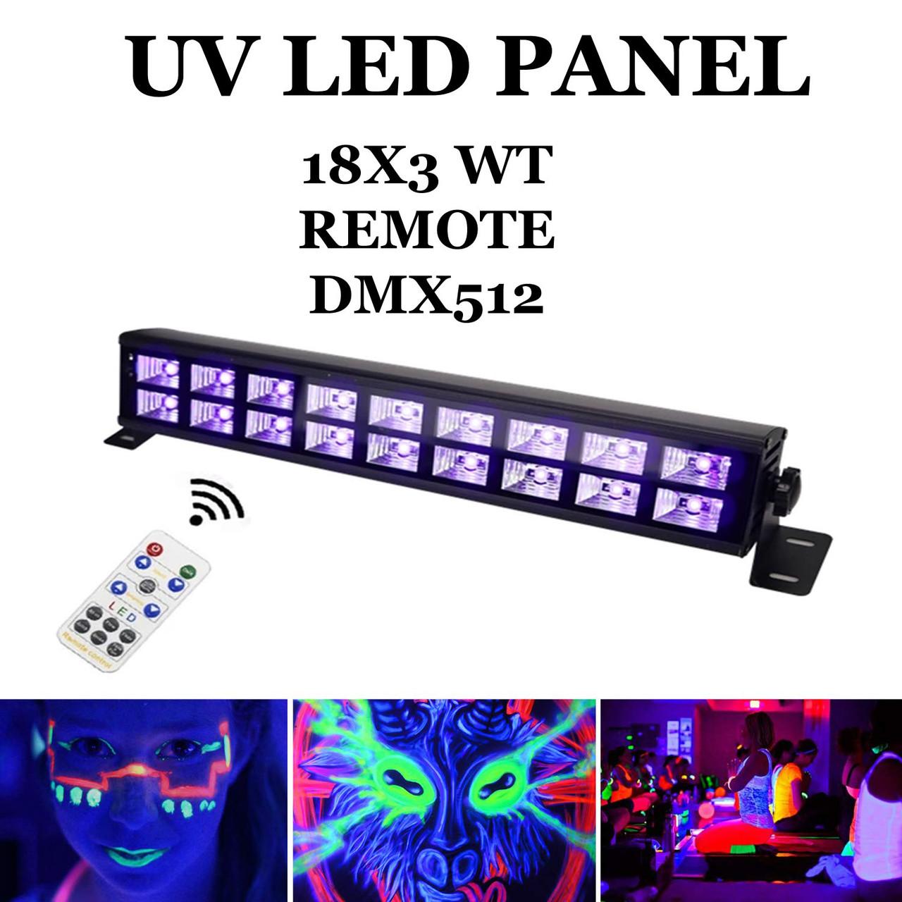 Ультрафиолетовая led панель 18х3 Вт с пультом ДУ UF DMX512