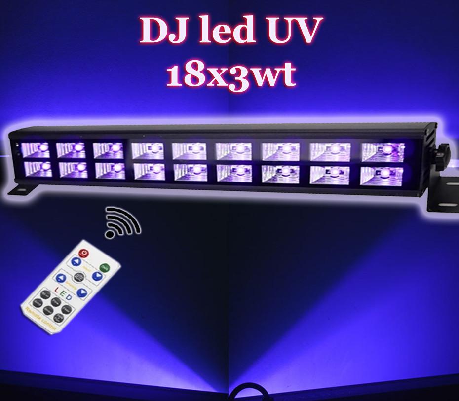 Ультрафиолет led панель 18х3 Вт с пультом ДУ UF DMX512