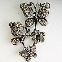 [40/60 мм] Яркая Брошь металл под капельное серебро бабочки, сидящие на цветке гирлянда