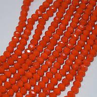 """Бусины хрустальные матовые цвет оранж """"красный апельсин"""" граненный """"рондель"""" d-6мм нитка L-45см купить оптом в"""