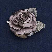 """Брошь с цветком """"Роза серая"""" из ткани d-6см купить оптом в интернет магазине"""