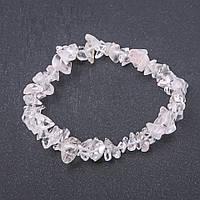 Браслет натуральный камень Горный хрусталь крошка на резинке d-8 мм обхват 18,5 см