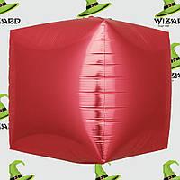 Шар фольгированный 4D куб красный