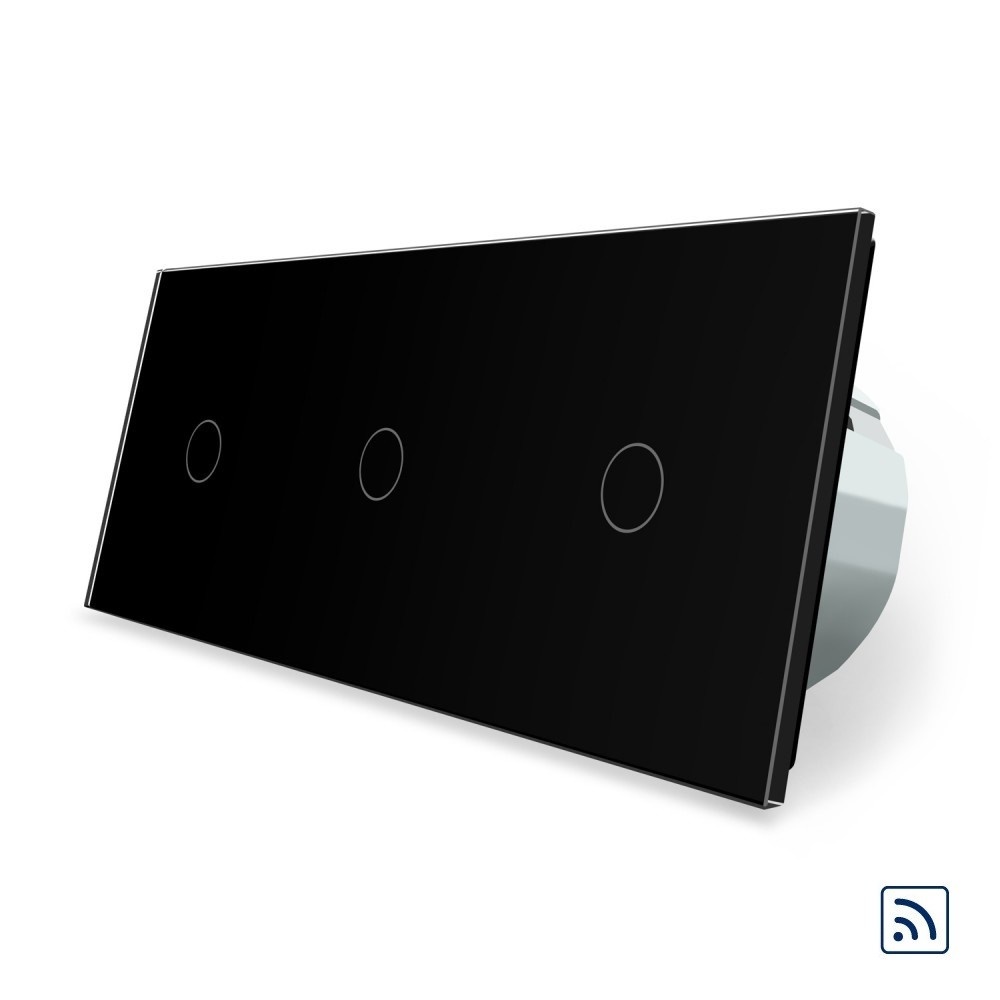 Трехсенсорный выключатель Livolo 1-1-1 с возможностью дистанционного управления черный стекло (VL-C703R-12)