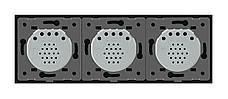 Трехсенсорный выключатель Livolo 1-1-1 с возможностью дистанционного управления черный стекло (VL-C703R-12), фото 2
