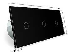Трехсенсорный выключатель Livolo 1-1-1 с возможностью дистанционного управления черный стекло (VL-C703R-12), фото 3