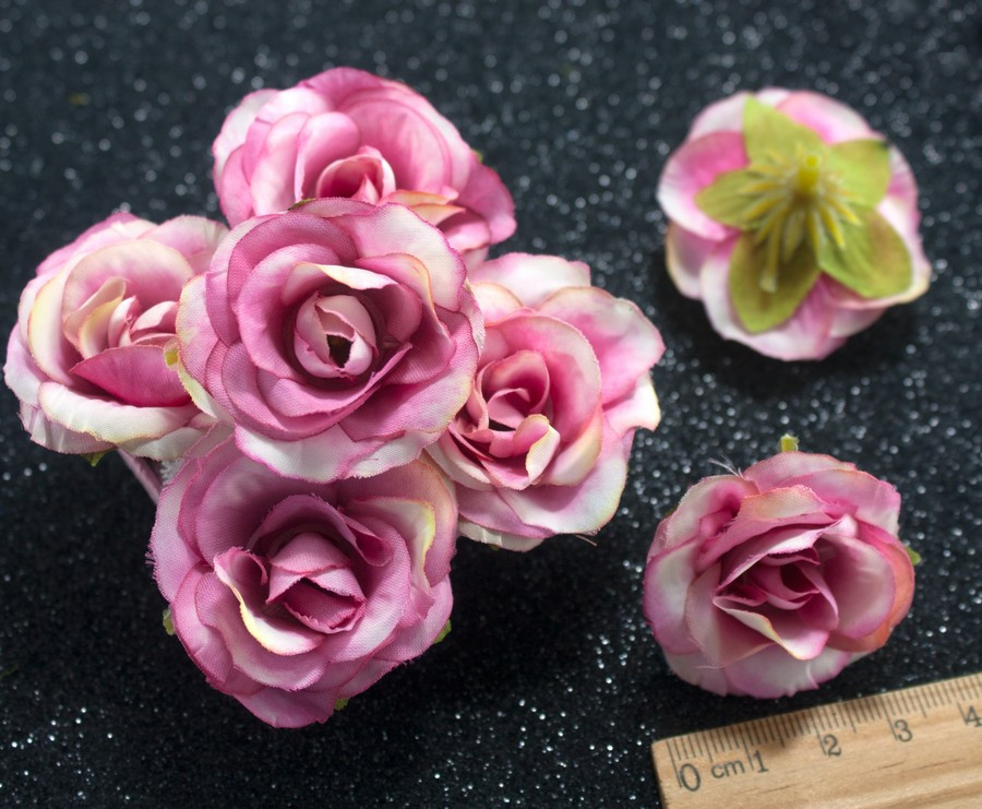 "(10шт) Головы цветов ""Роза"" Ø35мм Цвет - Бело-малиновый"