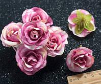 """(10шт) Головы цветов """"Роза"""" Ø35мм Цвет - Бело-малиновый, фото 1"""