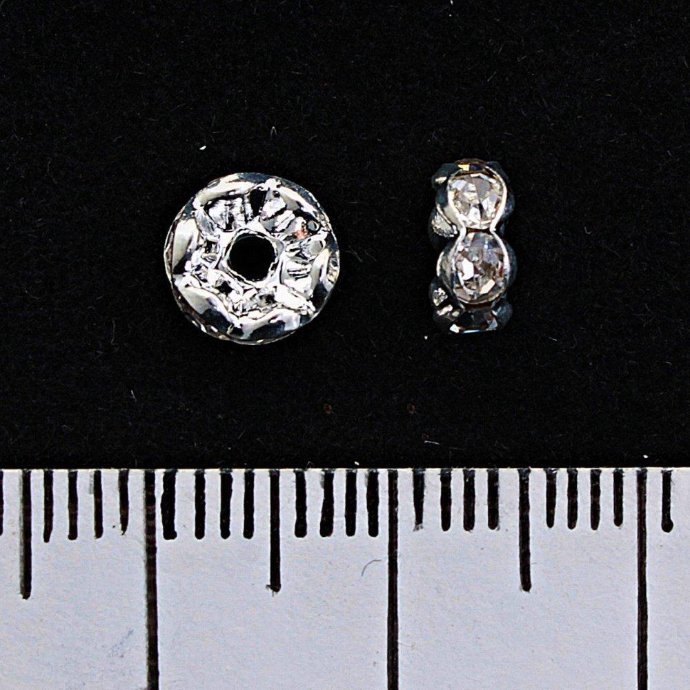Фурнитура разделитель рондель с белыми стразами, цвет металла серебро,6мм, 100шт\уп..