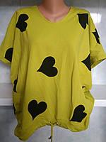 """Женская футболка """" сердца """" большого размера с мысом и завязкой спереди"""