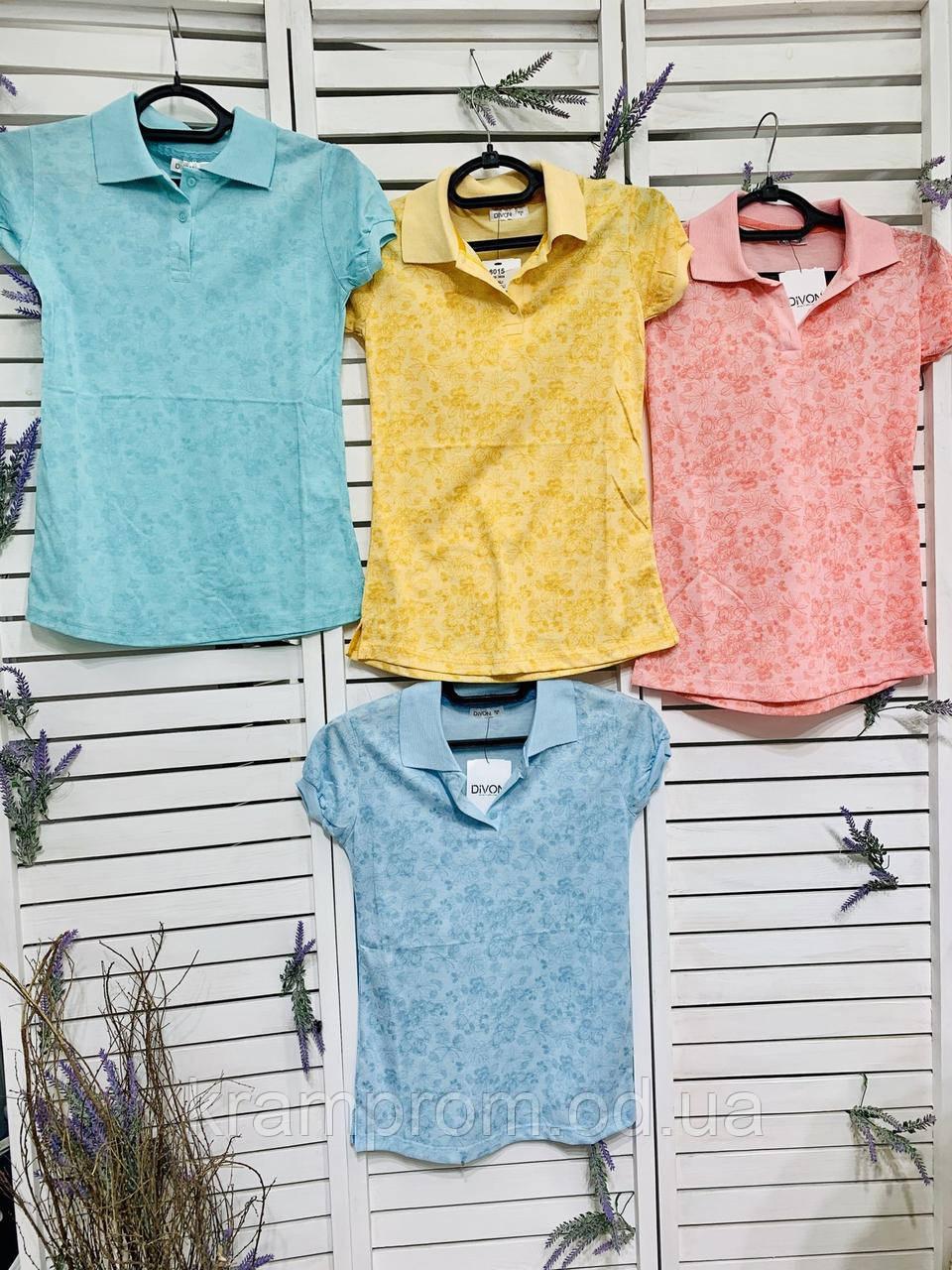 Женская стильная трикотажная футболка-поло