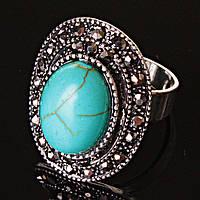 """Кольцо Бирюза оправа """"под капельное серебро"""" овальный камень 2,5*1,8 см без р-р"""