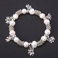 Браслет з натуральних перлів з підвісками Слоники d-9мм оптом оптом