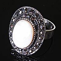 """Кольцо Перламутр оправа """"под капельное серебро"""" овальный камень 2,5*1,8 см без р-р"""