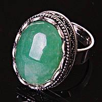 """Кольцо Нефрит оправа """"зубчик"""" """"М"""" овальный камень 2,1*1,6 см без р-р"""