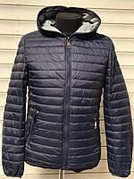 Куртка мужская синяя весенняя осенняя с капюшоном