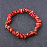 Браслет натуральный камень Яшма красная крошка на резинке d-8 мм обхват 18,5 см купить оптом в интернет