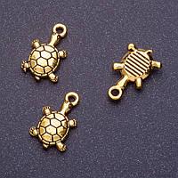 Фурнитура подвеска Черепаха L-18мм d1-1,5мм цвет старое золото фас.20гр. +-13шт. купить оптом в интернет