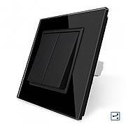 Клавишный проходной выключатель Livolo 2 линии цвет черный (VL-C7K2S-12)