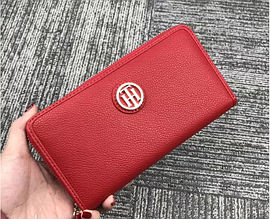Женский кожаный кошелек на молнии (38450) красный
