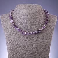 Бусы натуральный камень Аметист крошка d-8мм L-45-50см с удлинительной цепочкой