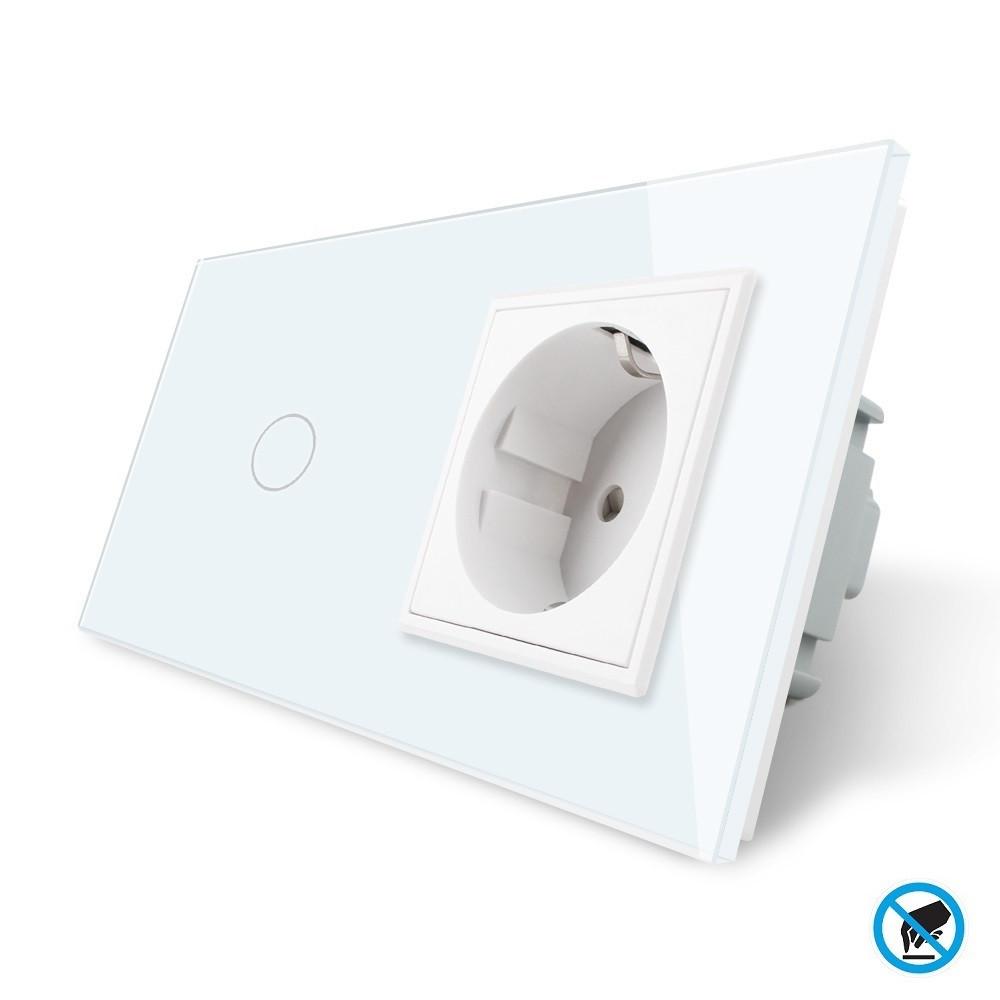 Бесконтактный выключатель с розеткой Livolo белый стекло (VL-C701/C7C1EU-PRO-11)