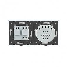 Бесконтактный выключатель с розеткой Livolo белый стекло (VL-C701/C7C1EU-PRO-11), фото 2