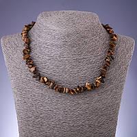 Бусы натуральный камень Тигровый глаз крошка d-8мм L-45-50см с удлинительной цепочкой