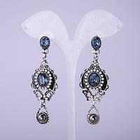 Серьги в восточном стиле с синими кристаллами L-65мм купить оптом в интернет магазине
