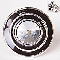Кольцо на резинке крупная страза эмаль черный