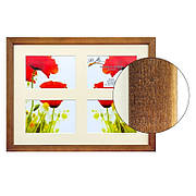 Рамка для 4 фотографий 10х15 см, паспарту, коричневый