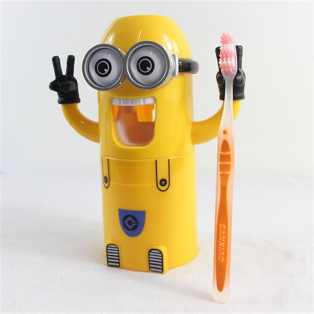 Диспенсер и дозатор для зубной пасты Миньон Dental Dispense Желтый