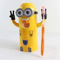 Диспенсер и дозатор для зубной пасты Миньон Dental Dispense Желтый, фото 1