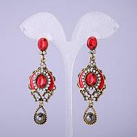 Серьги в восточном стиле с красными кристаллами L-65мм купить оптом в интернет магазине