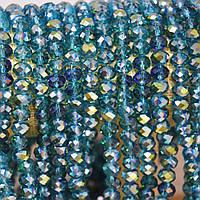 """Бусины прозрачное стекло голубое """"рондель"""" с напылением зеленый """"бензин"""" d-8х6,5мм L-40см"""