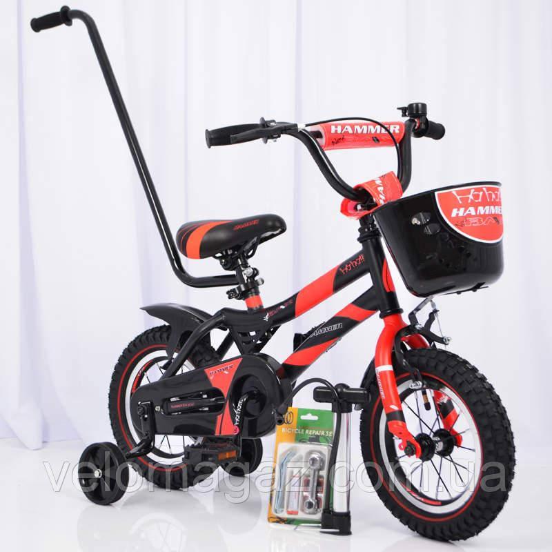 """Велосипед дитячий 12"""" S500 Чорно-червоний"""