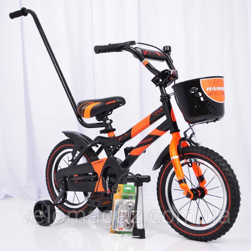"""Велосипед детский с дополнительными колесами 14"""" S500 Черно-оранжевый"""