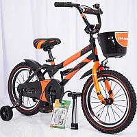 """Велосипед детский 16"""" S500 Черно-оранжевый, фото 1"""