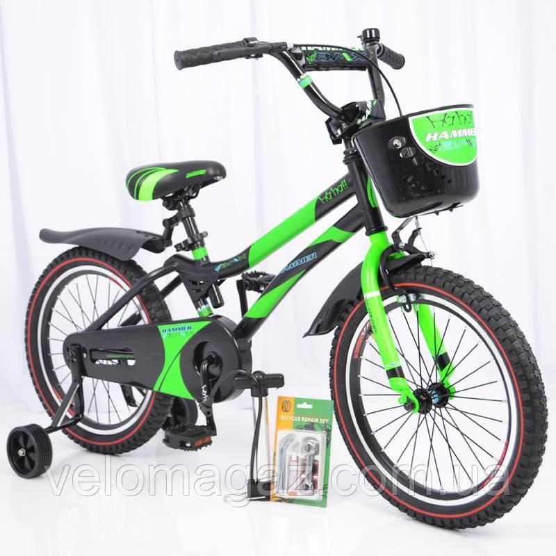 """Велосипед детский с дополнительными колесами 18"""" S500 Черно-зеленый"""