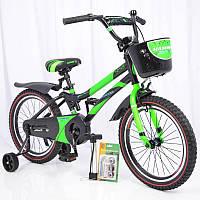 """Велосипед детский с дополнительными колесами 18"""" S500 Черно-зеленый, фото 1"""
