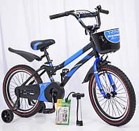 """Велосипед дитячий з додатковими колесами 18"""" S500 Чорно-синій, фото 1"""