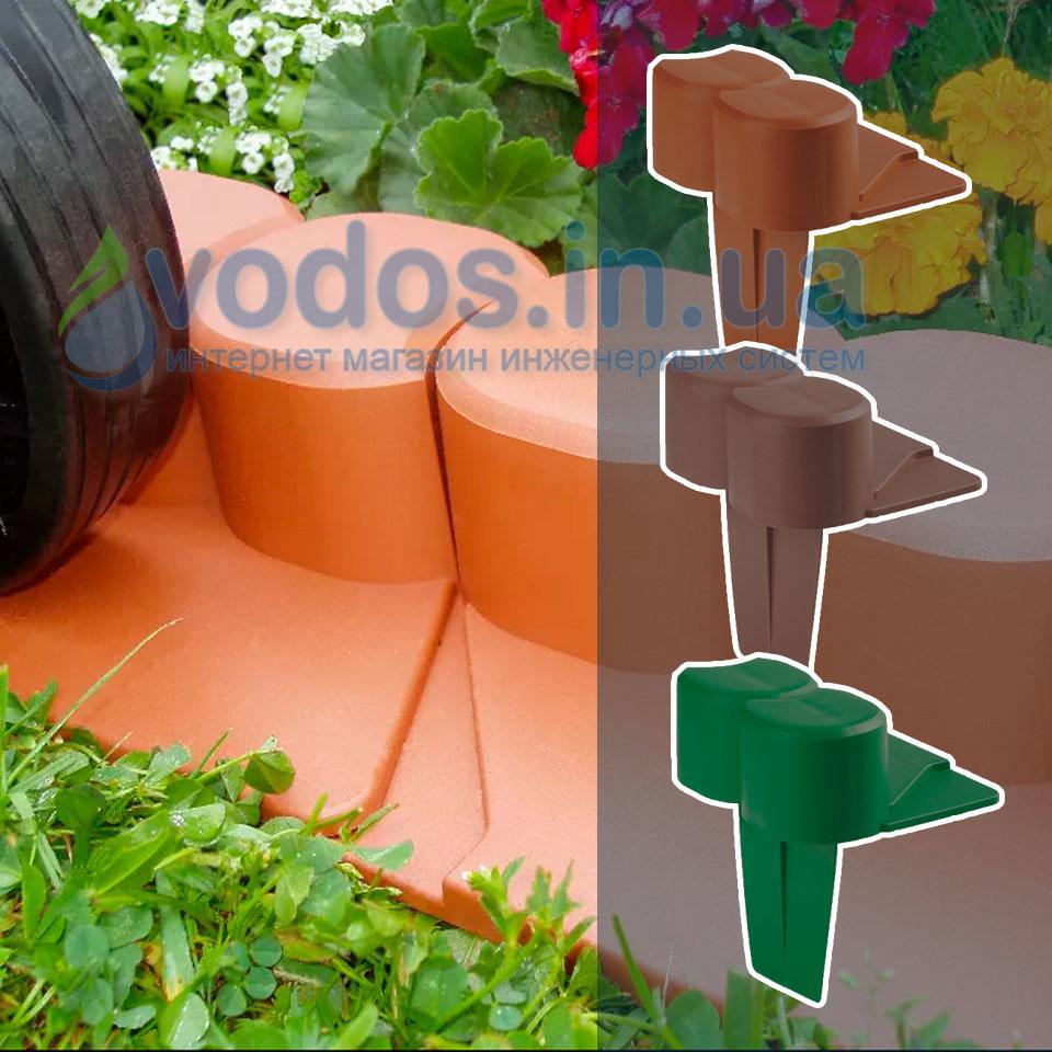 Палісад Газонний світло-коричневий 2,1 метра - декоративний садовий бордюр Palisada MIDI Plus (Польща)