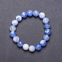 Браслет натуральный камень на резинке Голубой Агат граненный шарик d-10мм обхват 18см купить оптом в интернет