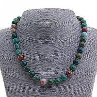 Бусы Яшма разноцветная, натуральный камень, шарик 8мм, длина 45см
