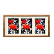 Рамка для 3 фотографий 13х18 см, паспарту, коричневый